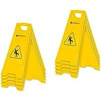 Singercon Señal de Peligro de Suelo Mojado Advertencia Señalizacion Pavimento Mojado CON.WS-01WF-SET3 (10 Letreros, Advertencia de peligro de resbalar, Plástico, Plegable)