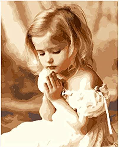 yhwygg DIY Ölgemälde Praying Angel Girl Von Digital Paint Für Erwachsene Kinder - Leinen Canvas - Von Auf Leinwand - (40X50Cm) Mit Rahmen Malen Nach Zahlen