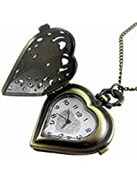 Antiguo corazón Retro forma Pocket Watch collar cadena colgante