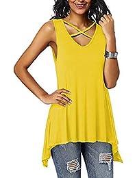 57a7c705f Laisla fashion Blusa Sin Mangas para Mujer Camisa Sin Mangas Cruzada con Cuello  Clásico En V Sin Mangas para Mujer Blusa Tops Verano…