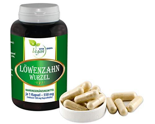 VITAIDEAL VEGAN® Löwenzahn-Wurzel (Traxacum officialae) 360 pflanzliche Kapseln je 450mg, rein natürlich ohne Zusatzstoffe.