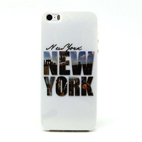 Voguecase® für Apple iPhone 5C, Schutzhülle / Case / Cover / Hülle / TPU Gel Skin (NEW YORK) + Gratis Universal Eingabestift NEW YORK