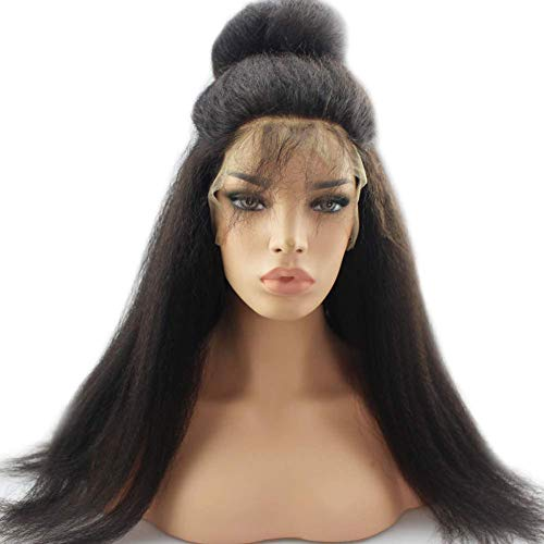 Perücken Gerade Echthaar Langes Hair Long Kinky Straight Lace Front Wigs Pre Plucked 13 * 4 with Curly Bob Wigs for Black Women Glueless Natural Black Hair 130% Density 26Inch, Black