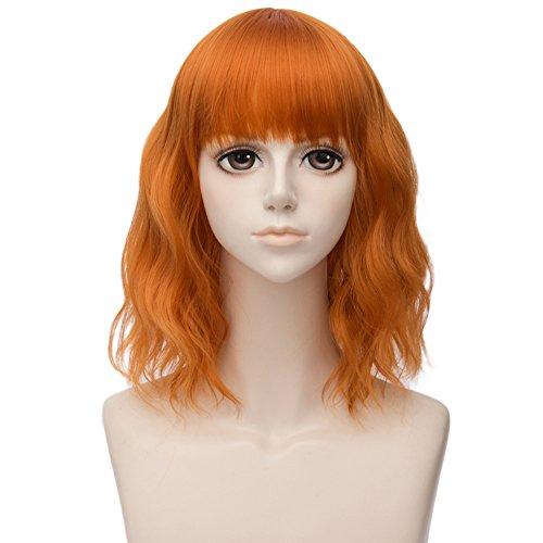 Orange 35CM Flauschige Gewellt Kunstfaser Lolita Halloween Cosplay Mittellang Fringe Fringe Perücke mit Kostenlose Perücke Kappe -