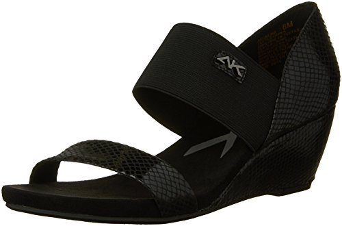 Anne Klein Sport Cailina Damen Textile Keilabsätze Sandale Blk/Blk