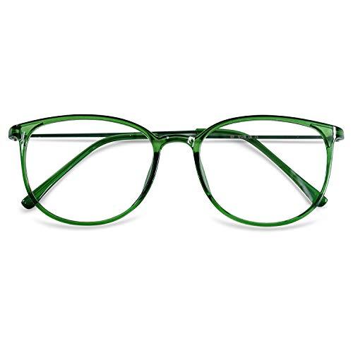 KOOSUFA Klassische Retro Nerdbrille Damen Herren Brille Ohne Sehstärke Brillengestelle Rund Pantobrille Brillenfassung Fake Brille Vintage mit Etui (Grün)