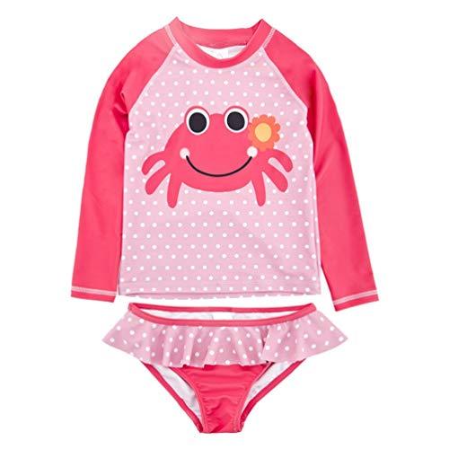 AMIYAN Kinder Mädchen Zweiteiliger Schwimmanzug Badenmode Kleinkinder Prinzessin Süß Langarm Punkte Badeanzug UV-Schutz-BadebekleidungUPF 50+ (Rosa, 2-3 Jahre) -