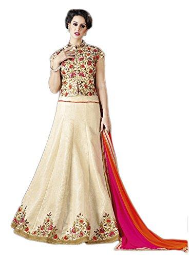 Perfect Resource Art Silk Cream Color Lehenga Choli