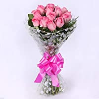 Floral Fantasy Fresh Flower Bouquet (Bunch Of 15 Pink Roses)