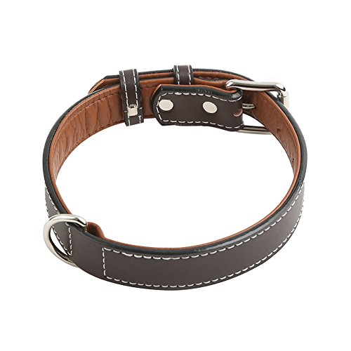 Vivifying-Leather-Dog-Collar-Durable-and-Comfortable-Genuine-Leather-Pet-Collar-for-Large-Medium-and-Small-Dogs-Adjustable-143-184-Inches-Dark-Brown