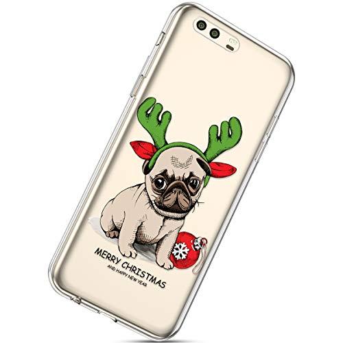 Handytasche Huawei P10 Silikonhülle Cover Durchsichtige Handyhülle Silikon Kristall Klar Transparent Schutzhülle Crystal Clear Handycover Dünn Bumper Tasche,Hund