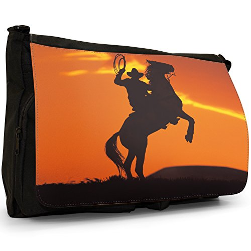 Fancy A Bag Borsa Messenger nero Cowboy On Horse Silhouette Of Cowboy On Horse Rearing Up