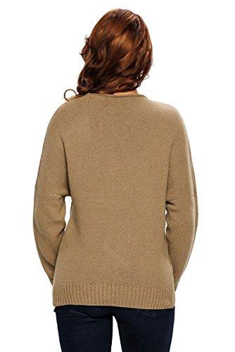 AN-LKYIQI Maglione girocollo a manica lunga con scollo a V a maniche lunghe Chunky Cross per autunno e inverno Khaki