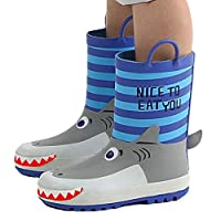 OldPAPA Kids Rain Boots Waterproof Rubber Wellies Kids Shark Shape Unisex Rain Shoes Blue