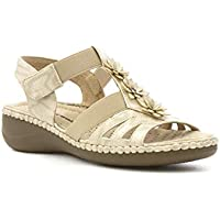acf71c4cc5c6 Cushion Walk Womens Flower Comfort Sandal in Beige