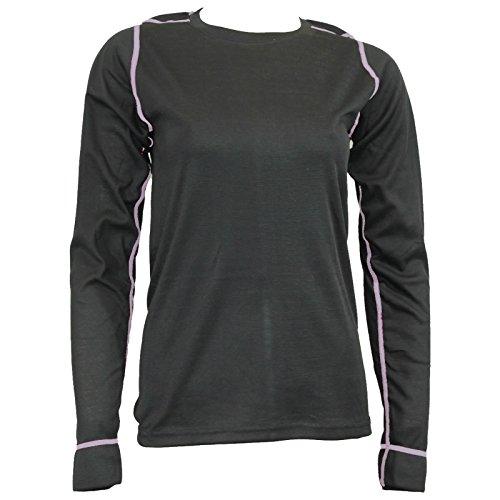 Damen Thermo Funktions Unterhemd Langarm schwarz/pink u. schwarz/grau 4 Größen Schwarz/Grau