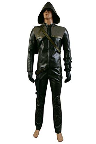 Fuman Green Arrow Oliver Quenn Leder Outfit Set Cosplay Kostüm (Outfit Pfeil Grüner)