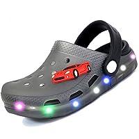 adituob Kids Girls Boys LED Clogs Flash Lighted Summer Beach Shoes Walking Slippers 11 Child UK Gray/EU28 Grey