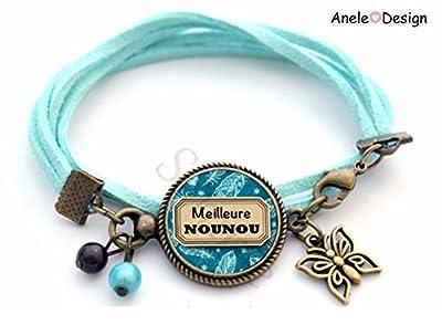 bracelet cadeau nourrice Cadeau Nounou - Meilleure Nounou !- bleu plume noir papillon perles bronze