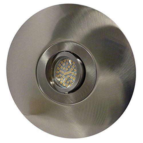 LED Einbaustrahler/ Einbaumaß: 68-180mm/ Aluminium/ Spot/ Einbauleuchte/ Einbauspot/ schwenkbar/ Edelstahl gebürstet/ DISC-14437/ GU10-230V Warmweiß