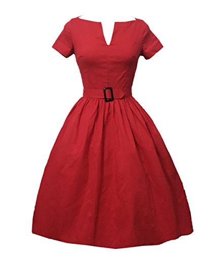 Valin M124418D Robe de bal Vintage pin-up 50's Rockabilly robe de soirée cocktail,S-XXXXL Rouge