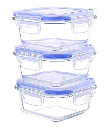 Kinetic Go Green Glasslock Elements Series 6-Piece Square Food Storage