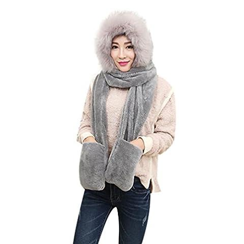 DAYSEVENTH Fashion Warm Winter Adult Hat Scarf Gloves Sets 3pc (Gray)