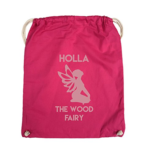 Comedy Bags - HOLLA THE WOOD FAIRY - Turnbeutel - 37x46cm - Farbe: Schwarz / Silber Pink / Rosa