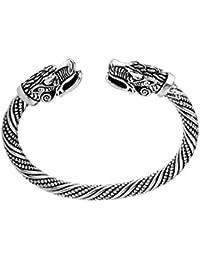 Bracelet vintage viking animal bobo, double tête de dragon en alliage de couleurs pures, nœud celtique pour homme/femme