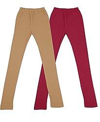 RIM-JHIM Girls Cotton Regular Fit Ankle Lenth Leggings (Pack of 2)_Marron/Beige_5-6 Years