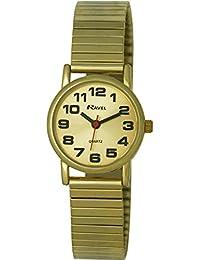 Ravel R0208052S Damen-Quarz-Armbanduhr, einfach abzulesen, mit erweiterbarem Band, goldfarbenem Zifferblatt, Analog-Anzeige und vergoldetem Edelstahl-Armband