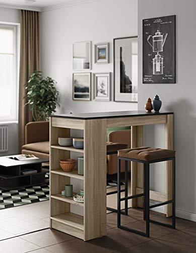 Symbiosis Table Bar avec rangements, Panneaux de Particules Melamines, Chêne/Noir, 115 x 50 x 102,7 cm