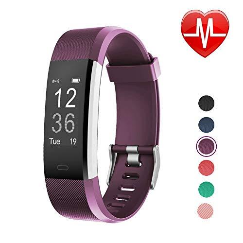 LETSCOM ID115PlusHR Fitness-Armbanduhr, Herzfrequenz, Smart-Schlafüberwachung, Schrittzähler, Schrittzähler, wasserdicht, IP67, drahtlos, Aktivitätstracker, Violett, 17,48,81,8 cm