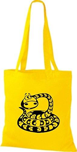 Shirtstown Pochette en tissu Animaux Serpent Snake Jaune - Jaune