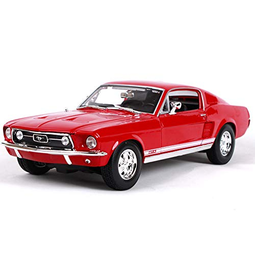 GRX-PRETTY 1:18 Ford Mustang Simulation Automodell, Klassische Modelle, Motorhaube Und Linke Und Rechte TüRen KöNnen GeöFfnet Werden, Autosammlung, Statisches Modell,Red (Modell-auto-kits Ford Mustang)