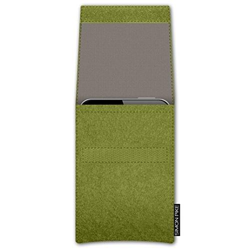 SIMON PIKE Apple iPhone 7 / 6 / 6S Filztasche Case Hülle 'NewYork' in gruen 7, passgenau maßgefertigte Filz Schutzhülle aus echtem Natur Wollfilz, dünne Tasche im schlanken Slim Fit Design für das iPh gruen Filz (Muster 7)