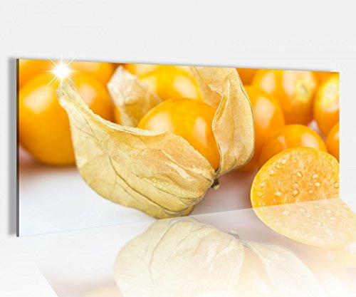Acrylglasbild 100x40cm Kapstachelbeere Beere Obst gelb Küche Früchte Acrylbild Glasbild Acrylglas Acrylglasbilder 14A1386, Acrylglas Größe1:100cmx40cm