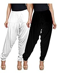 Women's Stretch Viscose Lycra Solid Patiala Pants, Pack Of 2, XL Size, Black And White