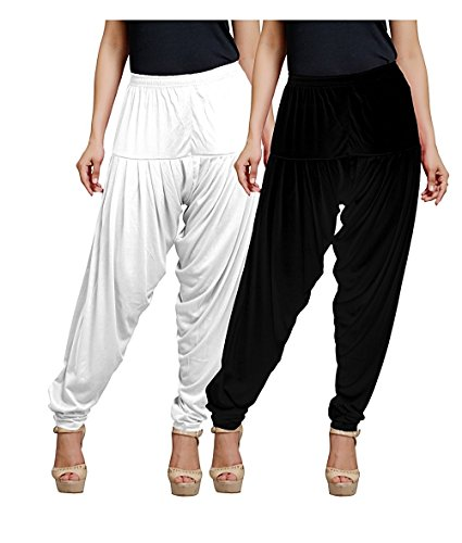 Women's Stretch Viscose Lycra Solid Patiala Pants, Pack of 2, XL Size,...