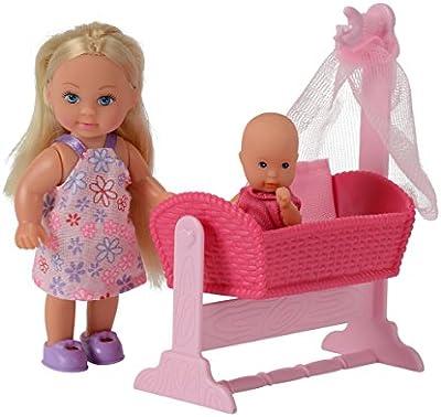 Simba 105736242 Evi Love - Muñeca Evi, bebé, cuna y accesorios