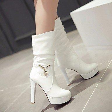 pwne Donna Stivali Comfort Pu Molla Casual Stiletto Heel Arrossendo Rosa Bianco 4In-4 3/4In US8 / EU39 / UK6 / CN39