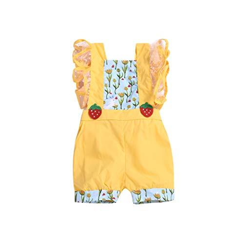 hahashop2 Baby Kinder Mädchen Sommer süß Erdbeere Blumen Mini-Rock Lace Sweet Prinzessin Kleider (Waldgeist Von Prinzessin Mononoke Kostüm)