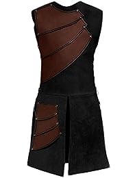 cab6de6b08 lancoszp Traje de Chalecos sin Mangas Medieval para Hombres Chaleco  Victoriano Renacentista Rojo Negro