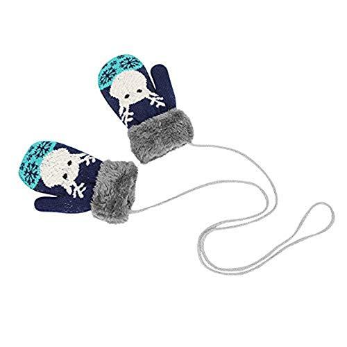 longteng Handschuhe Niedlich unisex Fäustlinge Kleinkinder 1-4 Jahre Mädchen Jungen Verdicke Kinderhandschuhe weich warme Winter Strickhandschuhe mit Plüsch Fleecefutter Babyhandschuhe als Weihnachten Geschenk