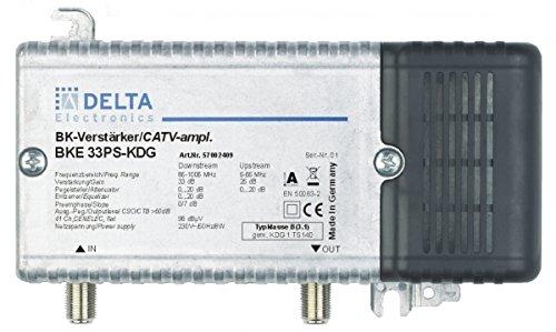 DCT Delta–BKE 33PS KDG VPE: 1, Hausanschlussverstärker KDG B (3.1) 1GHz 33dB, RW 65MHz 23dB Verstellvorrichtung Ebene
