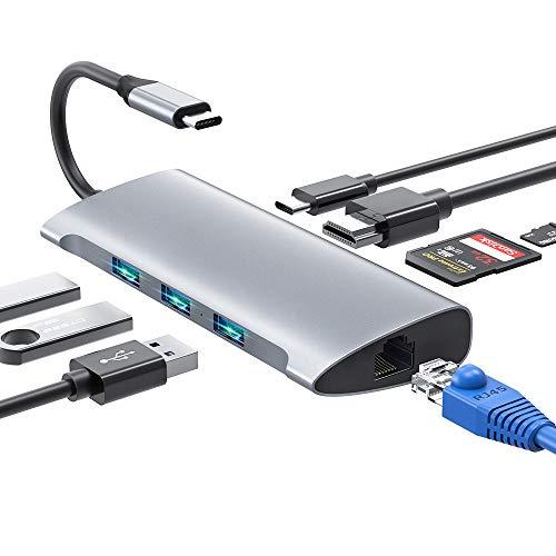 USB C Hub, 8 IN 1USB Typ C Adapter mit 4K HDMI & RJ45, 3 USB3.0 Ports, SD/TF Kartenleser & USB C Stromanschluss USB C Adapter Kompatibel für MacBook Pro/Air, Samsung, Huawei, USB C Geräte -
