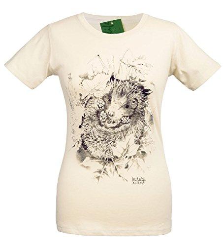 Igel Damen T-Shirt Igel-Motiv in beige - wildlife-shirts - schadstofffreie Farben - Keine Versandkosten!