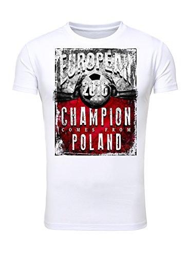 Legendary Items T-Shirt EUROPEAN CHAMPION 2016 Polen Printshirt Europameister EM Fußball Trikot Weiß