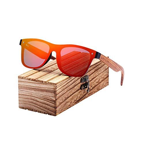 Sport-Sonnenbrillen, Vintage Sonnenbrillen, Sunglasses Men Polarisiert Wood Sun Glasses For Men Sports Eyewear Square Sunglasses Women Oculos De Sol Masculino Red