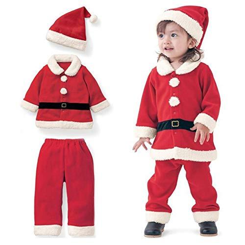 GSDZN - Kinder Mädchen Weihnachtskleidung Kostüm Party Kleider, Mantel + Hose + Santa Hut Outfit,90#1-2years
